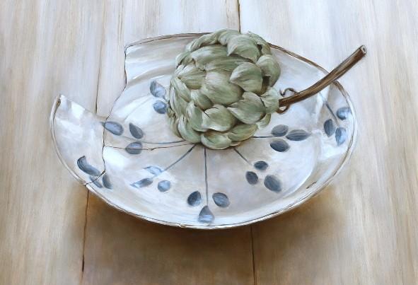 Haarlem faience plate with artichoke by Tanja Moderscheim