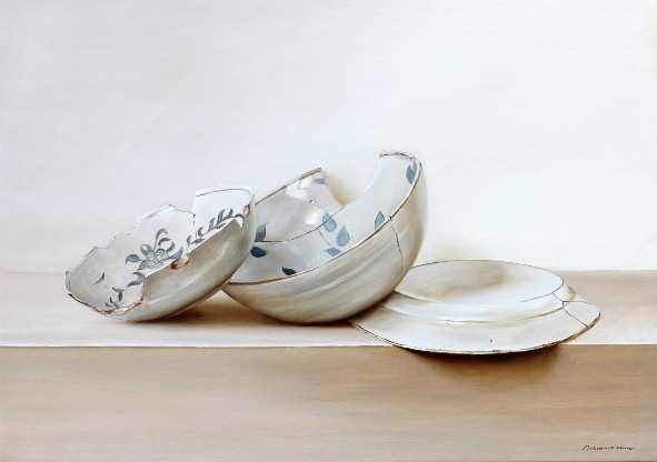 17th century faience plates. Oil on fine linen, 50x70cm