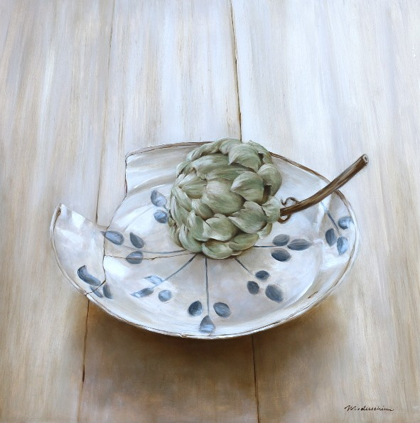 Haarlem faience plate with artichoke. Oil on wood, 40x40cm