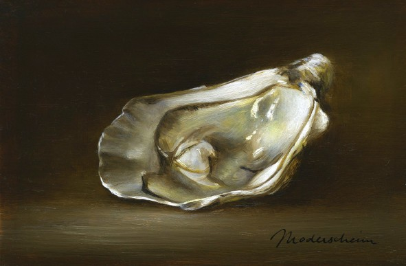 Oyster. Oil on wood, 10x15cm