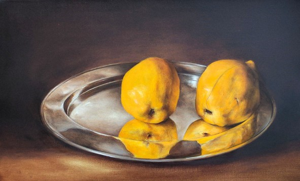 Two quince fruit on a silver platter. Oil on fine linen, 25x40.5cm