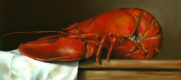 Lobster. Oil on wood, 20x30cm