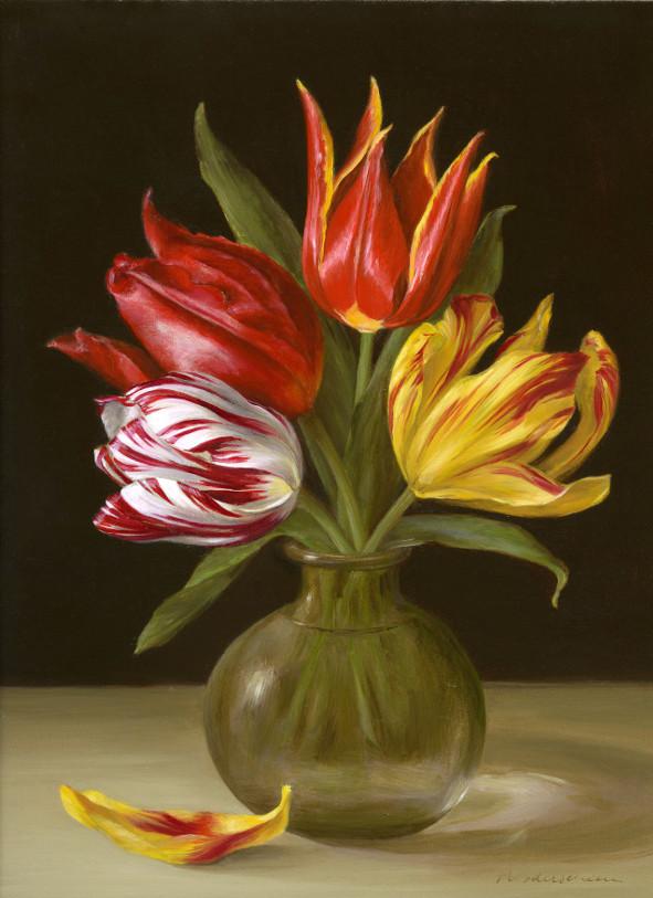 Still life: Ode to Bosschaert: Zilver Standaard (1760), Duc van Tol Max Cramoisi (1700), Duc van Tol Rood en Geel (1595), Gouden Standaard (1760). Oil on fine linen, 22.8x30.5cm (9x12″)