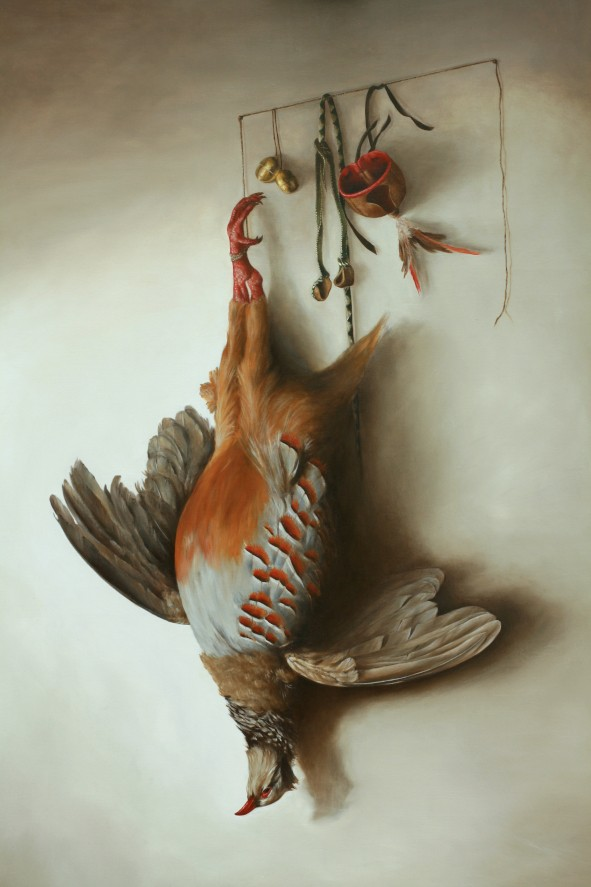 Red-legged partridge with falcon hood. Oil on fine linen 91.4x121.9cm (36″ x 48″)