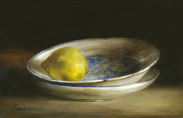 Still life: Delft blue plates with lemon. Oil on wood, 10x15cm