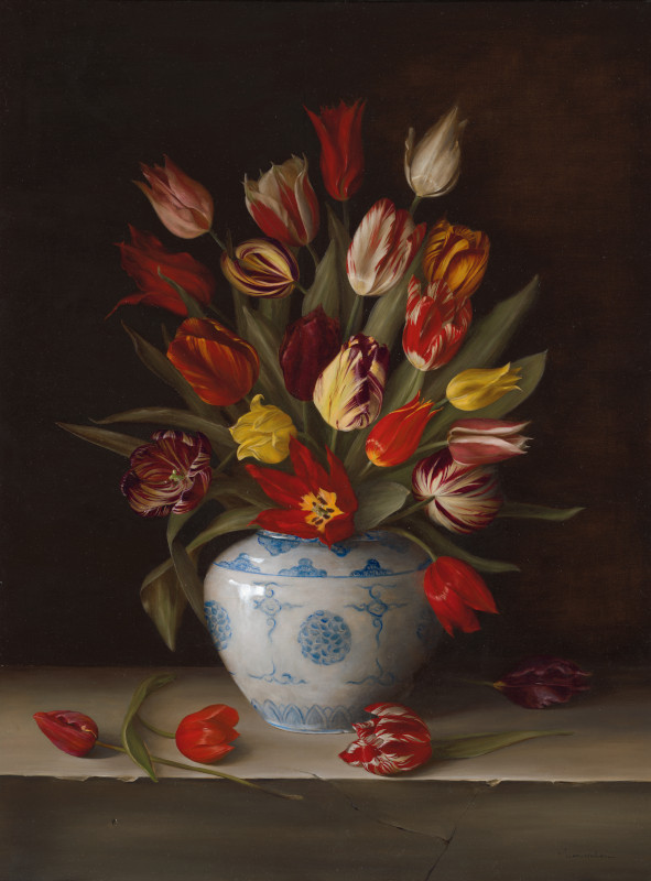 "Dutch 16th -19th century heritage tulips. Oil on fine linen, 76.2x101.6cm (30x40"")"