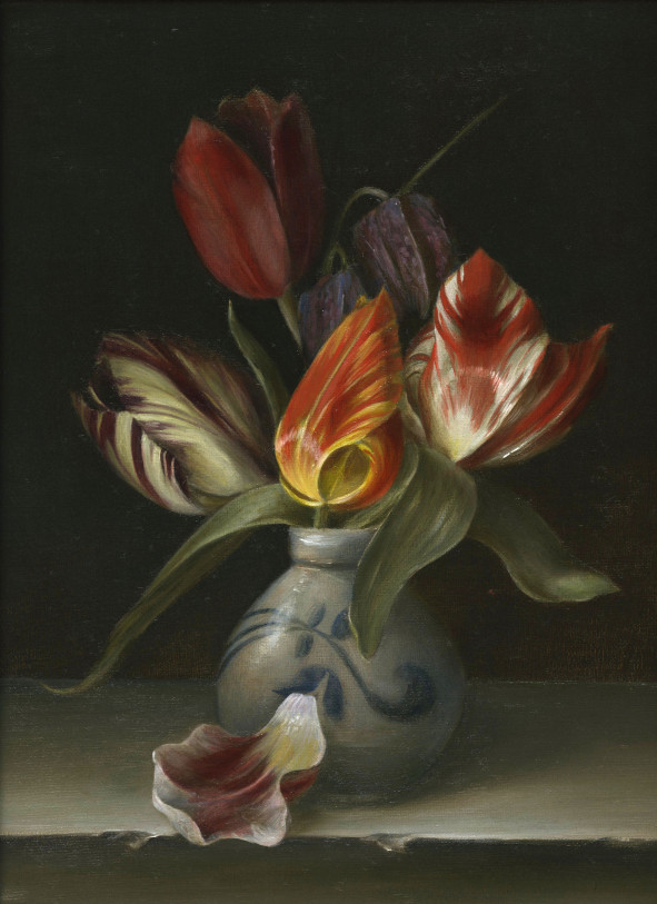 "Rembrandt tulips >1760 and Fritillaria Meleagris 1573. Oil on fine linen, 25.5x30.5cm (10x12"")"
