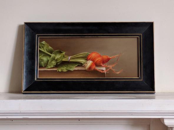 Still life: Eric Roy, France. Oil on wood, 10.5x24cm