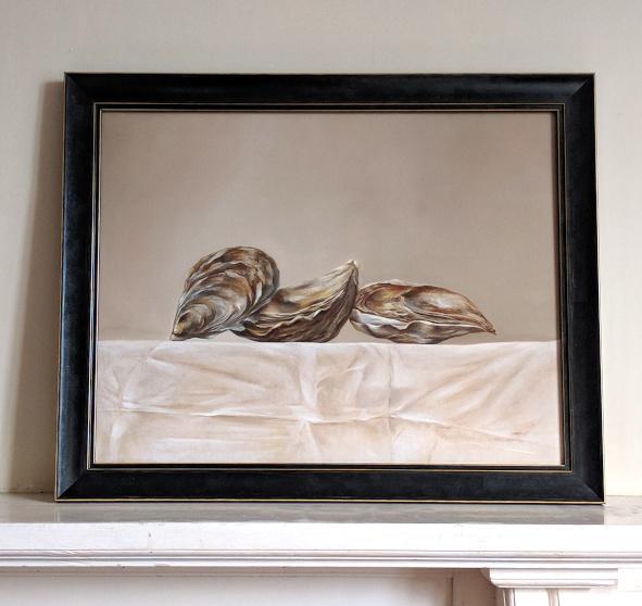 Still life: Fine de Cancale, France. Oil on fine linen, 35x45cm