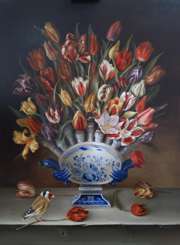 "Still life: Goldfinch with heritage tulips and Lambertus v Eenhoorn vase. Oil on fine linen, 76.2x101.6cm (30x40"")"