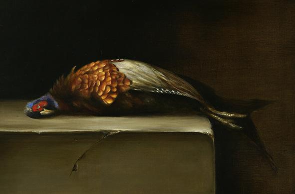 "Still life: Pheasant. Oil on linen, 12x18"""