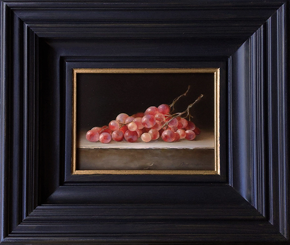 Still life: Grapes on a stone ledge. Oil on wood, 13x18cm