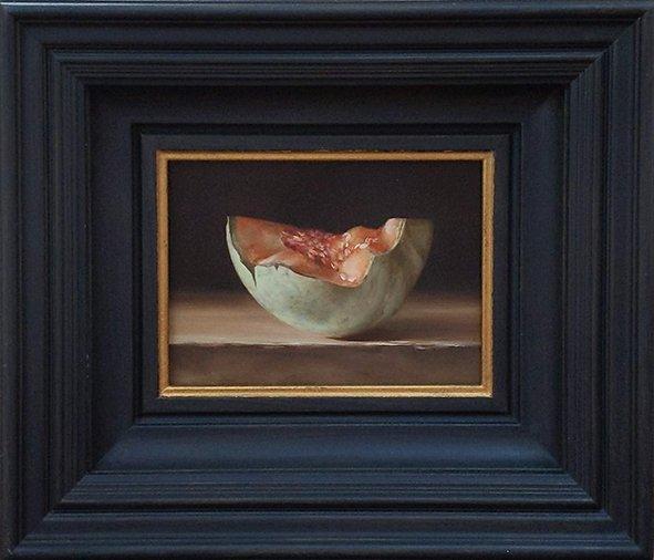 Still life: Cantaloupe. oil on wood, 13x18cm.