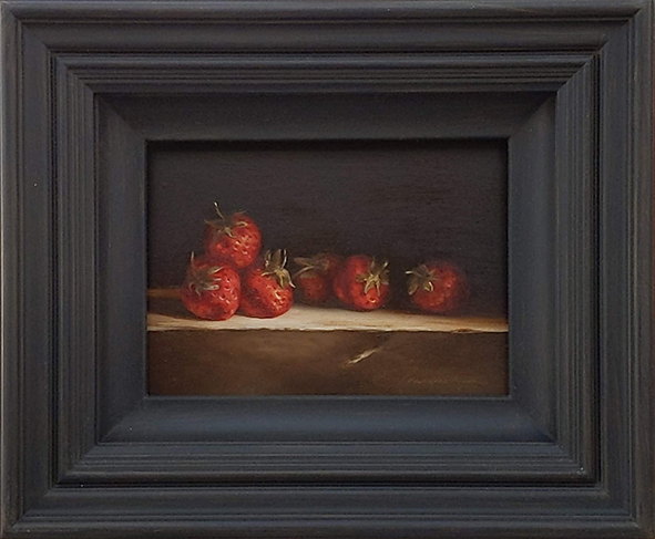 Still life: Strawberries on a stone ledge. Oil on wood, 13x18cm