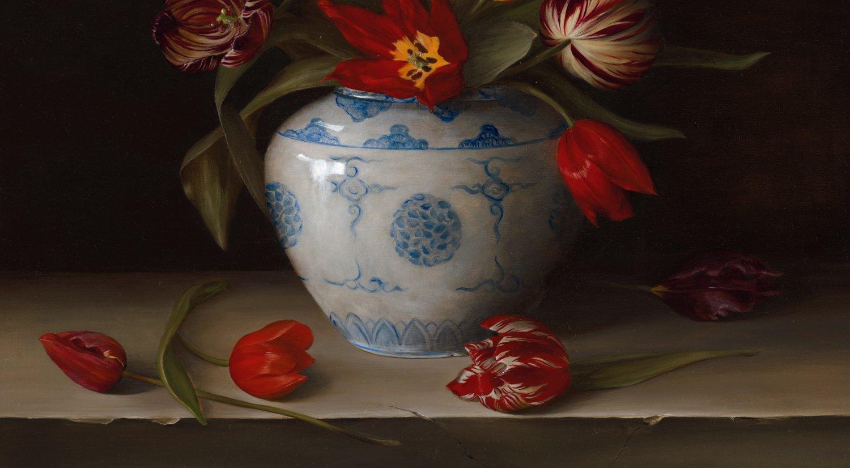 "Still life: Dutch 16th -19th century heritage tulips. Oil on fine linen, 76.2x101.6cm (30x40"")"