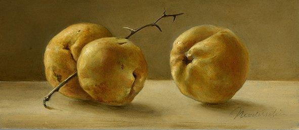 Still life: Crab apples. Oil on wood, 8.5x20cm