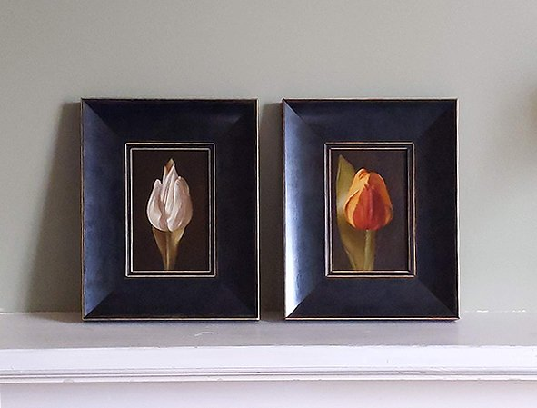 Tulip still life: WitteValk (1880) and Keizerskroon (1750). Oil on wood, 10x15cm