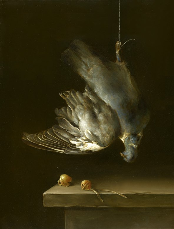 """Wood pigeon with peregrine bells. Oil on fine linen, 35.5x45.7cm (14x18"""")"""