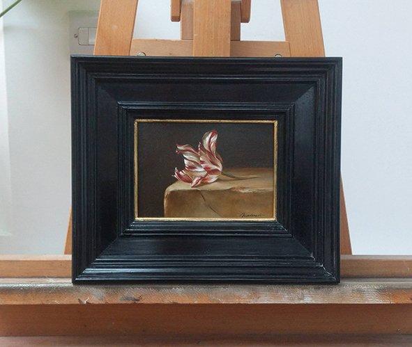 Zilver Standaard Dutch heritage tulip (1760). Oil on wood, 13x18cm