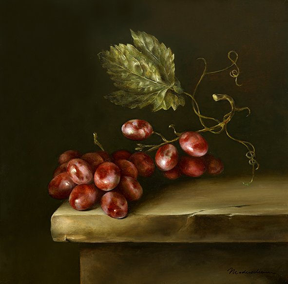 Grapes on a stone ledge. Oil on poplar panel, 30x30cm