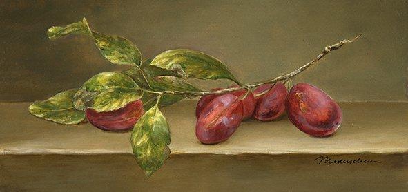 Victoria plums. Oil on poplar panel, 13x26cm